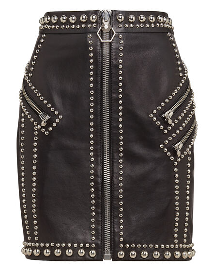 Leather Skirt Short Zip and Studs