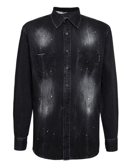 Denim Shirt Ls Skull crystal