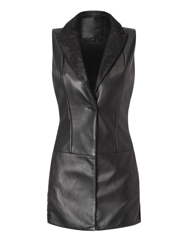 "leather vest ""stay classy"""