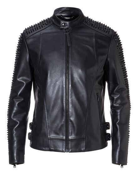 Leather Moto Jacket Snake strass