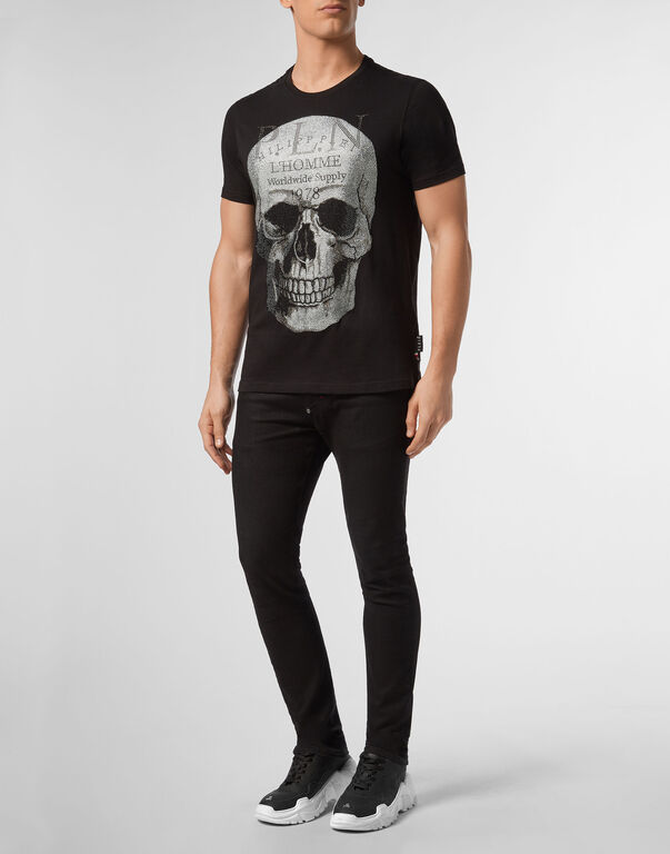 T-shirt Platinum Cut Round Neck Skull