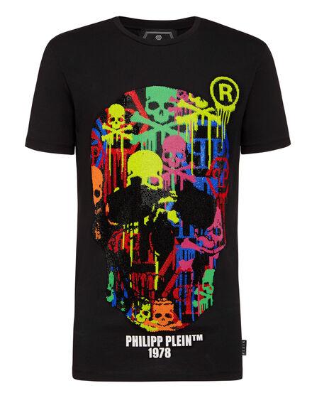 T-shirt Round Neck LS Skull strass