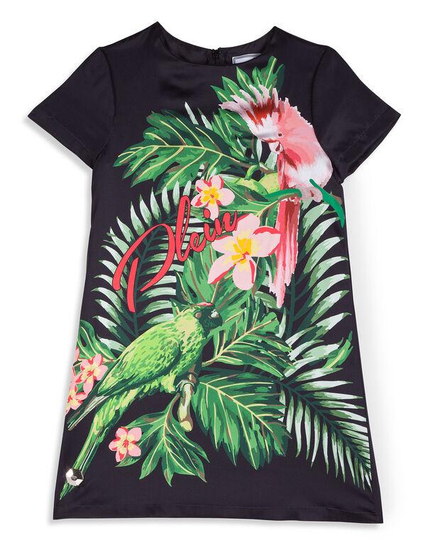 """T-Shirt Short Dress """"Bouquet Parrot"""""""