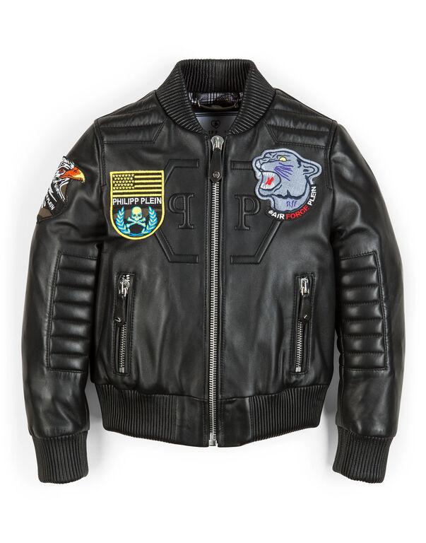 "leather jacket ""good boy"""