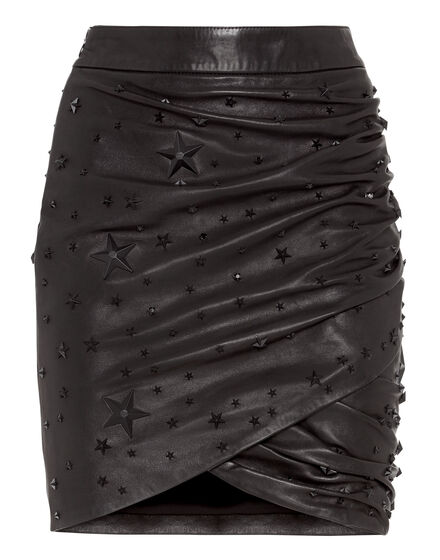 Leather Skirt Short Studs