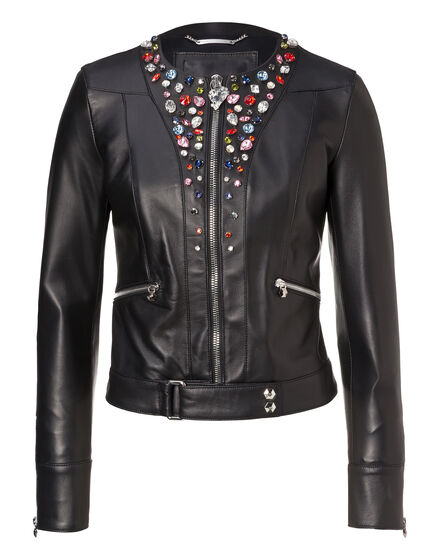 Leather Jacket Shiny Skull