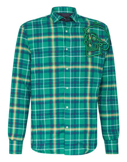 Shirt Platinum Cut LS  Outline Skull