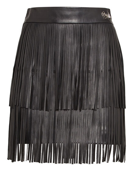 Leather Skirt Short Leather fringes