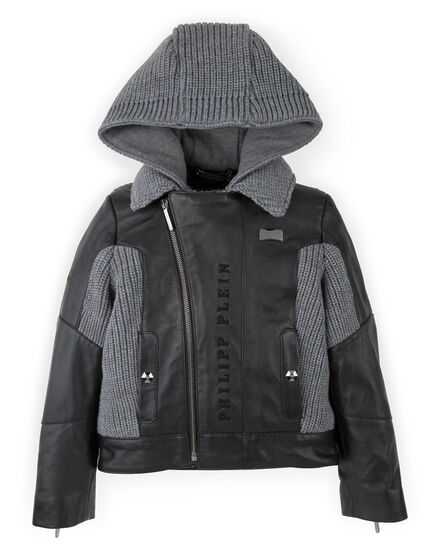 hooded tricot leather jacket atomic