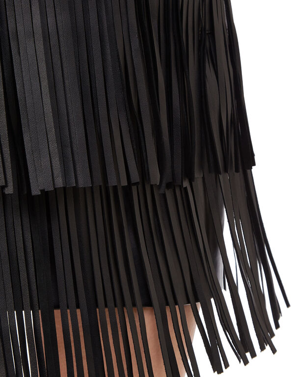 "Leather Skirt Short ""Leather fringes"""