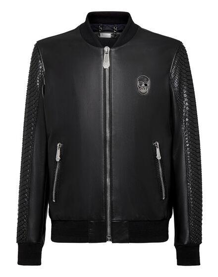 Leather Python Bomber Luxury