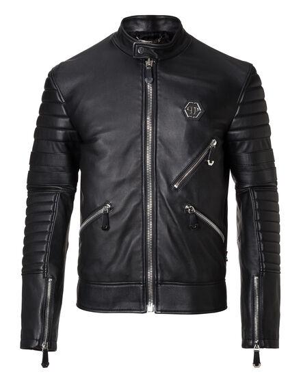 Leather Moto Jacket Dark Car