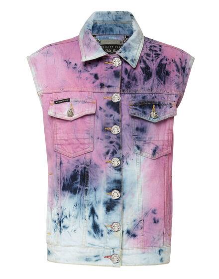 Denim vest Bleached Tie dye