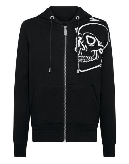Hoodie Sweatjacket Outline Skull