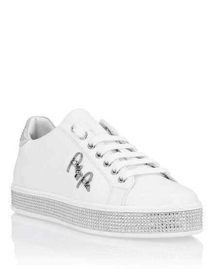 Leather Lo-Top Sneakers Crystal