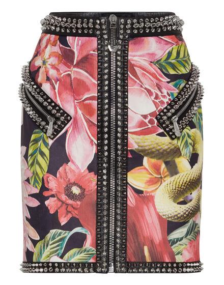 Leather Skirt Short Flowers