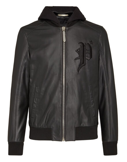 Leather Bomber Hoodie Gothic Plein
