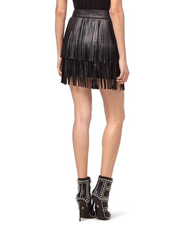 "Leather Skirt Short ""Leather fringes"""