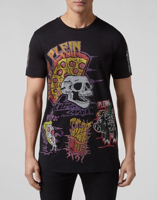 T-shirt Black Cut Round Neck Pizza boy