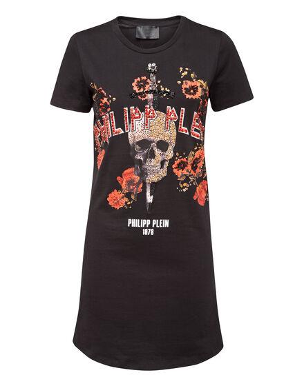 T-Shirt Short Dresses Flower and skull