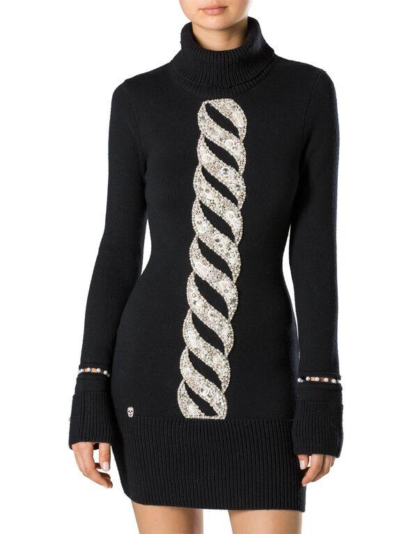 """Knit Day Dress """"Twist Perls"""""""