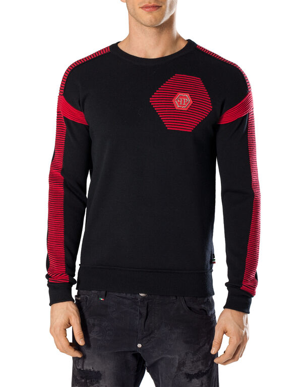"Pullover Round Neck LS ""Red lines"""