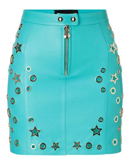 Leather Skirt Short Amber