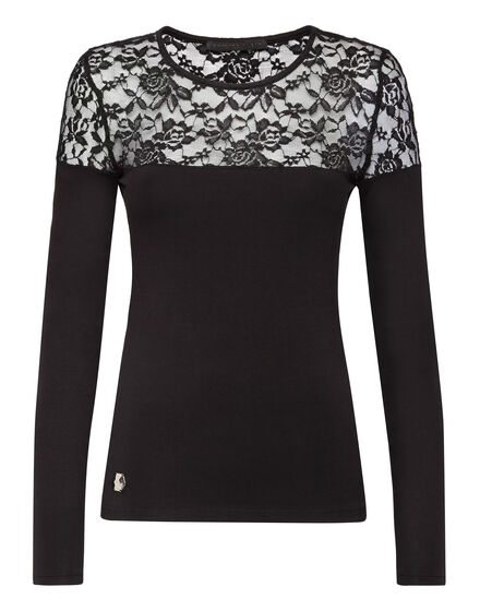 T-Shirt Round Neck LS Lace