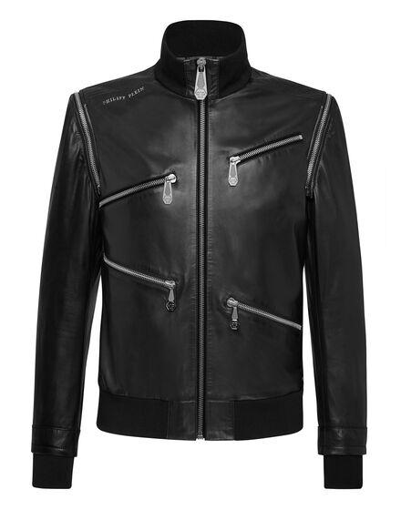 Leather Bomber Zipped