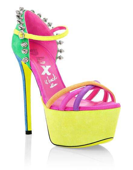 Suede Sandals High Heels Colorfull
