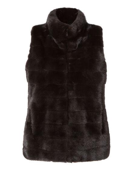 fur vest flowered