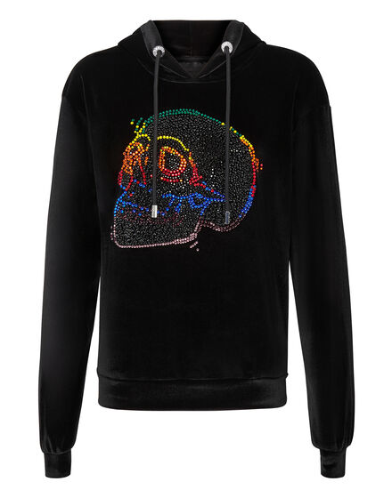 Hoodie sweatshirt Look at me Skull strass