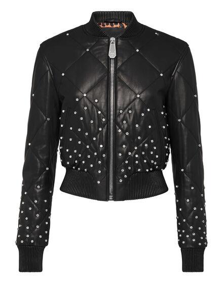Leather Bomber Stardust Crystal Plein