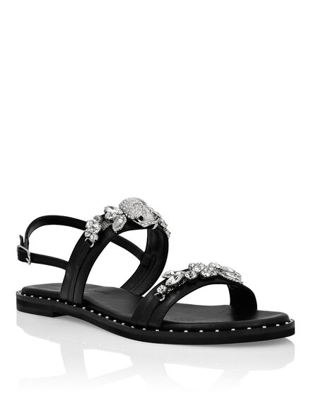 Leather Sandals Flat Crystal