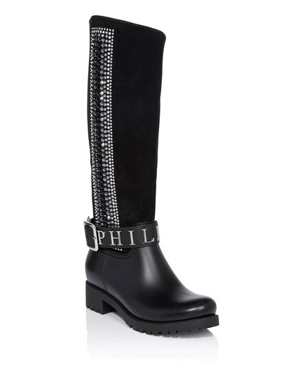 Gummy flat high boots edera