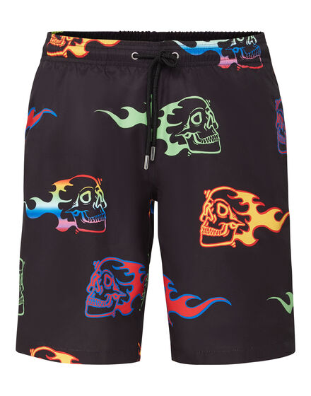 Beachwear Short Trousers Skull on fire