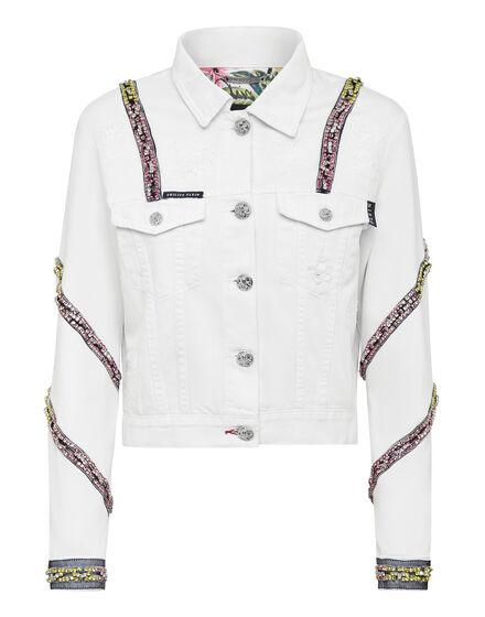 Denim Cropped Jacket Crystal