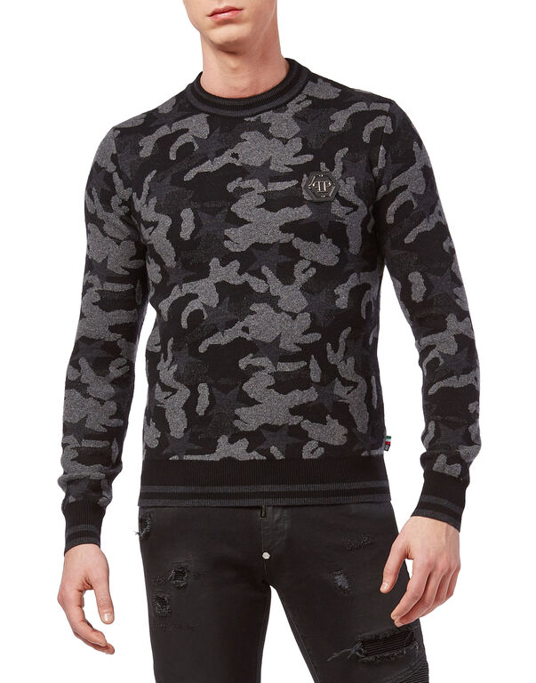 """Pullover Round Neck LS """"Camou stars"""""""