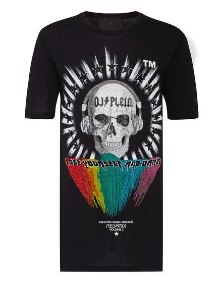 T-shirt Black Cut Round Neck DJ Plein