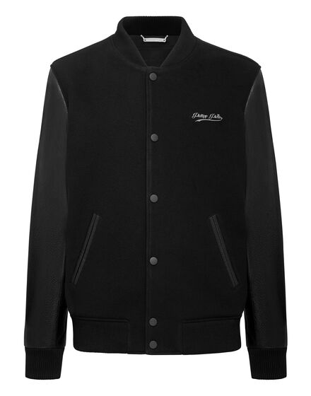 Bomber with Leather sleeves Signature