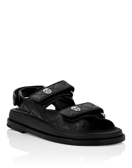Matelassé Leather Sandals Flat Skull