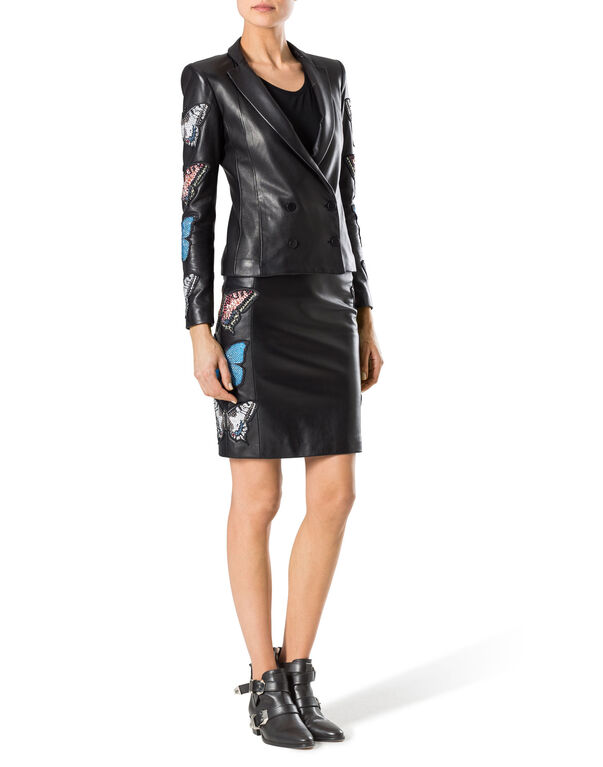 """leather pencil skirt """"stone rose"""""""