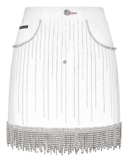 Denim Skirt Crystal Fringe