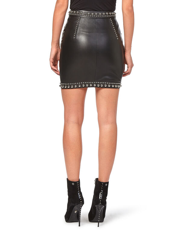 """Leather Skirt Short """"Zip and Studs"""""""