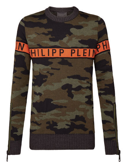 Pullover Round Neck LS Orange line