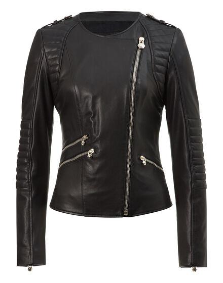 leather jacket bat girl