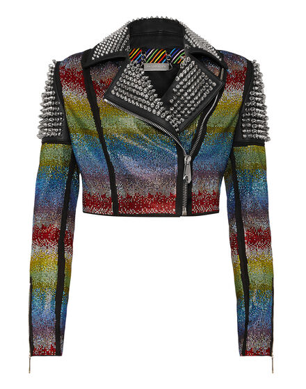 Leather Biker Rainbow Crystal