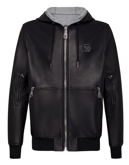 Leather Bomber Hoodie Statement