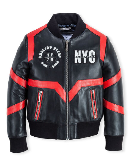 Leather Bomber True Circle