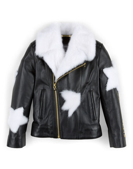 leather jacket white fur